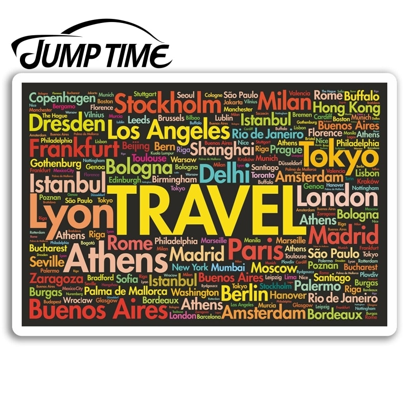 Jump Time for Travel Vinyl Stickers Holiday City Fun Sticker Laptop Luggage Truck Window Bumper Decal Waterproof Accessories