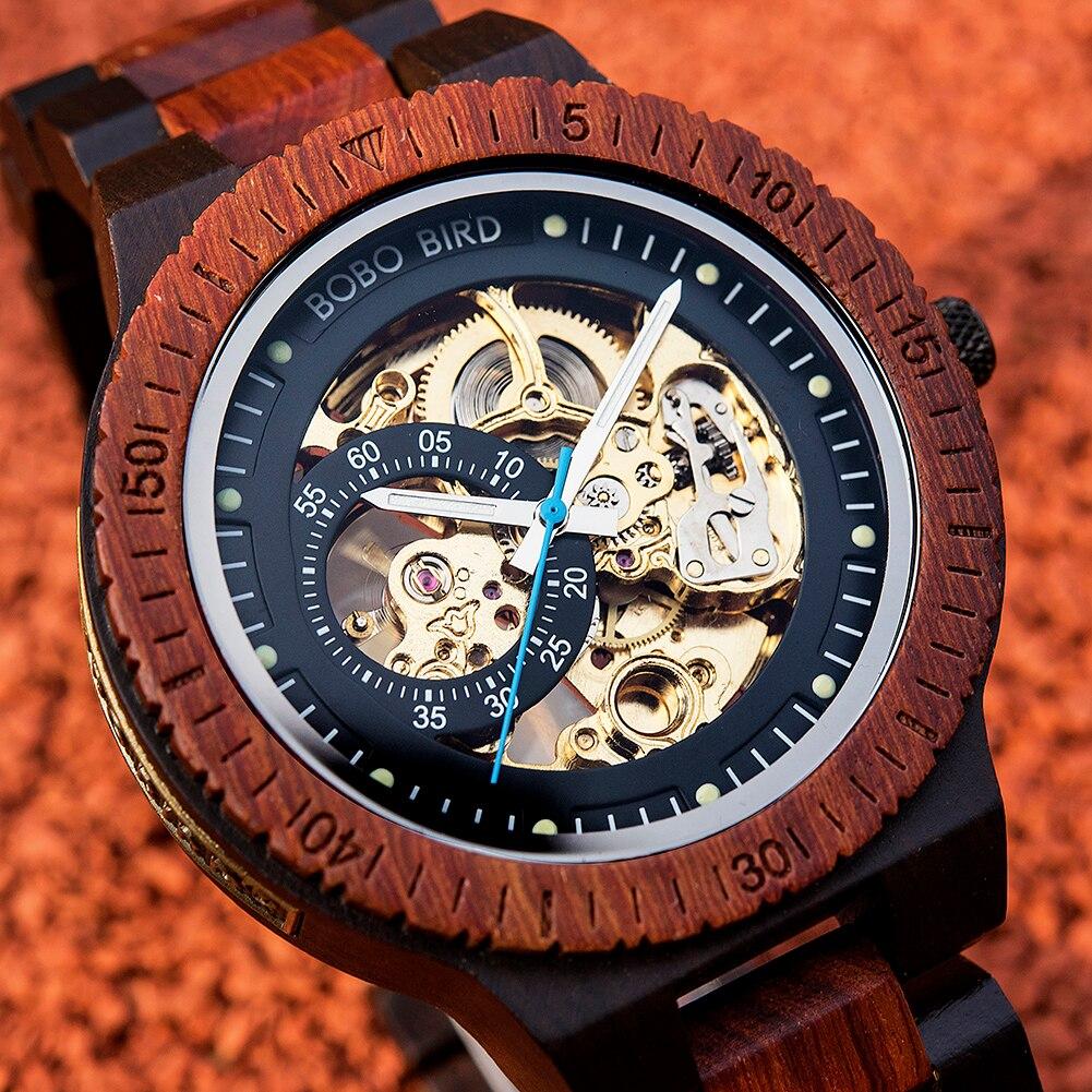 BOBO BIRD الرجال التلقائي الميكانيكية ساعة ساعة خشب مقاوم للماء الذكور الخشب شعار مخصص للصندوق دروب شيبينغ