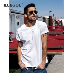 KUEGOU 100% Cotton Tee Patchwork Solid Men's T-shirt Short Sleeves Summer Clothes Fashion Tshirt For Men Top Plus Size ZT-90047