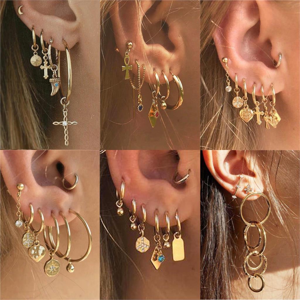 Auksiniai krištolo perlų auskarai, pagaminti iš moterų širdies mėnulio žvaigždės kryžiaus plunksnų moteriškų auskarų, pagaminti iš senovinių mados papuošalų