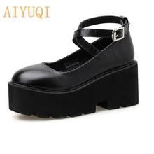 AIYUQI Women Heels 2021 Spring Platform fashion Women High Heel Shoes Luxury Cross Lace Buckle Pumps