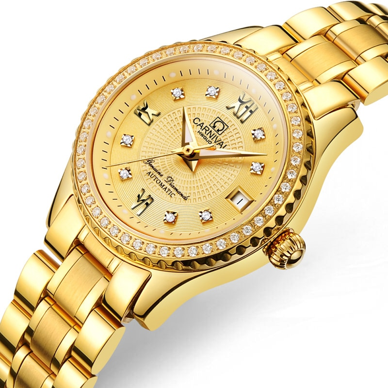 CARNIVAL Fashion Casual Ladies Calendar Luminous Waterproof Diamond Studded Stainless Steel Strap Automatic Mechanical Watches enlarge