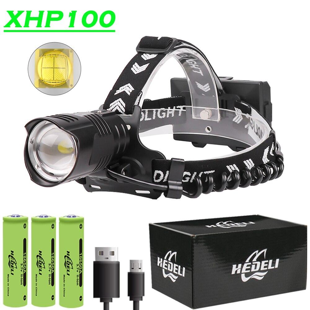 Linterna frontal LED XHP90.2 XHP100 18650, linterna frontal recargable por USB, linterna frontal XHP90 con Zoom, linterna de pesca de alta potencia