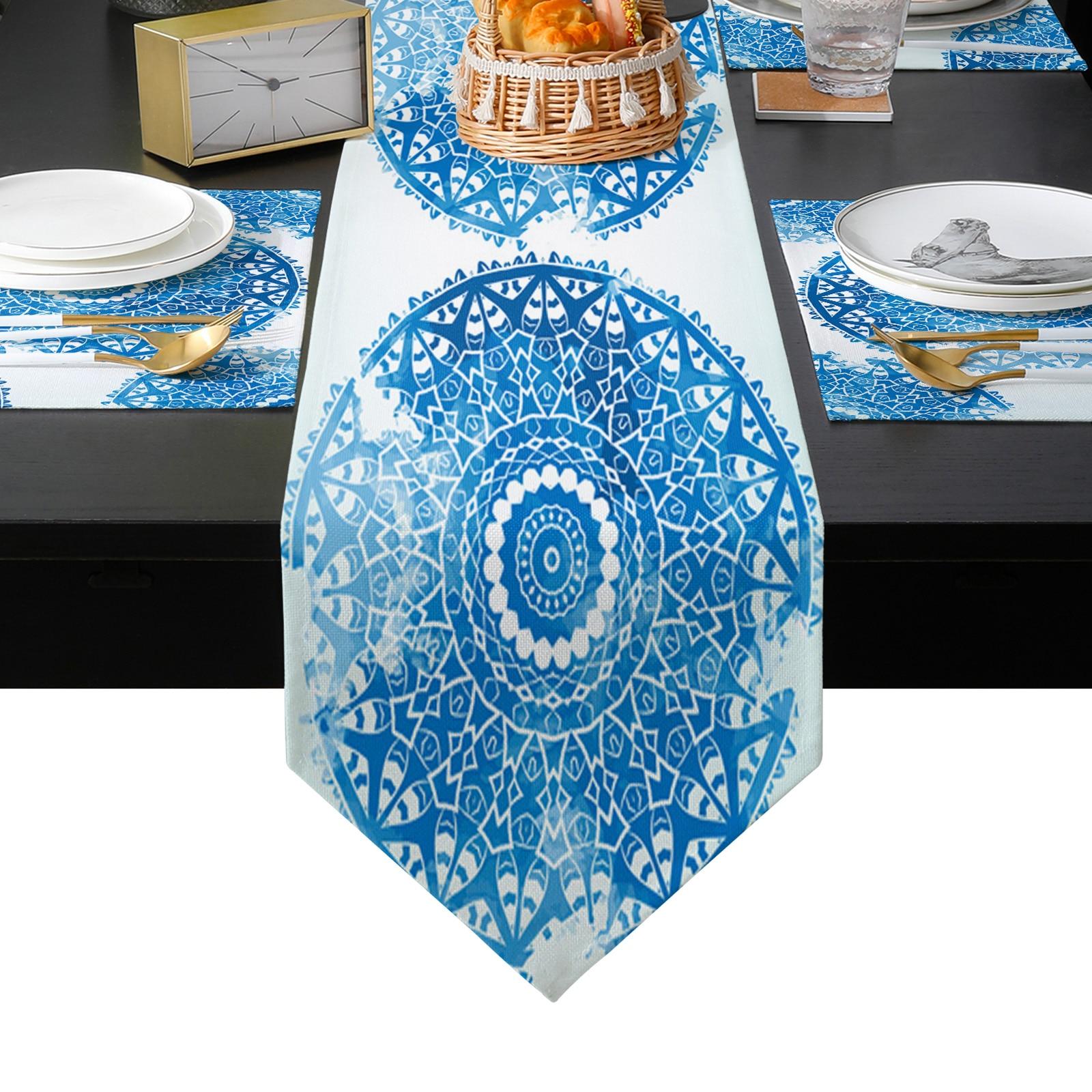 ماندالا الرجعية الجدول عداء المفارش مجموعة البلد الزفاف الجدول الفن الديكور للمطبخ المنزل الطعام عطلة