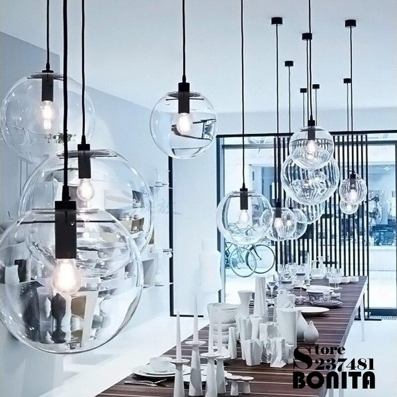 Lámpara colgante de cristal claro Edison de melón de invierno nórdico lámpara colgante de diseño clásico