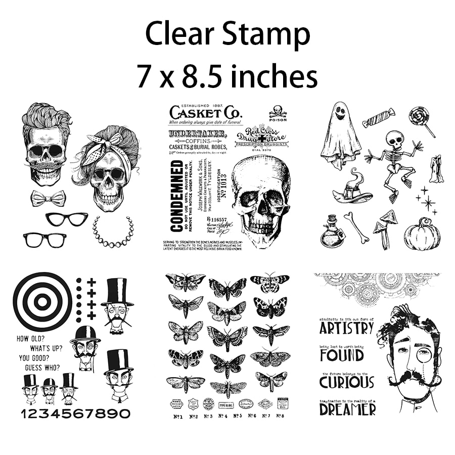 2021 New Retro Halloween Gentleman 7 x 8.5 inches Pattern Clear Stamps For Craft Making Card Scrapbooking No Metal Cutting Dies