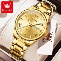 OLEVS Luxury Men\'s Watches Waterproof Gold Stainless Steel Men Watch Reloj Hombre Quartz Wrist Watch For Men Gift Boyfriend 2021