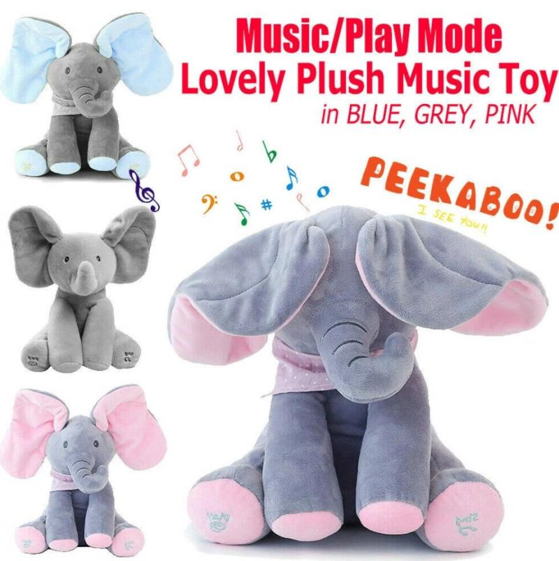 Elephant Plush Toy Electric Music Shake The Ear Doll Electric Plush Preschool Toys With English Songs Ear Talk for Toddlers Gift