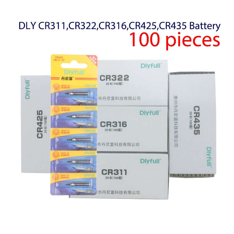 100pcs/lot CR311 CR316 CR322 CR425 CR435 Luminous Electric Battery Fishing Floats Lithium Pin Battery  Fishing Tools Accessories