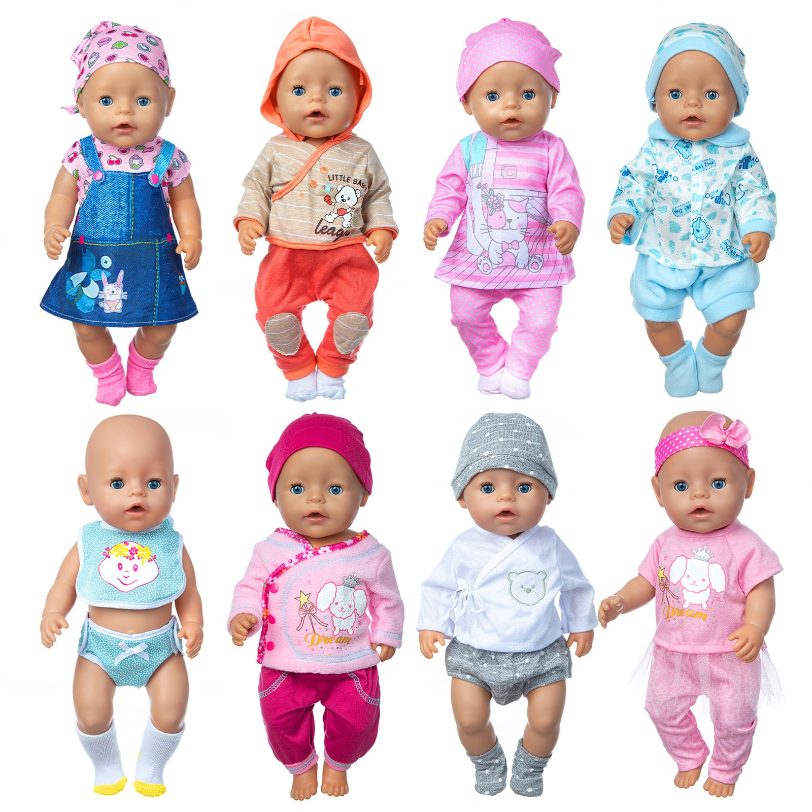 Born New Baby Fit 18 inch 43cm Doll Clothes Doll Strawberry Pineapple, Fruit and Hair Ribbon Suit Ac
