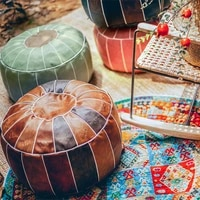 round decorative seat cushion moroccan faux leather floor seat hassock ottoman footstool large unstuffed sitting pillow
