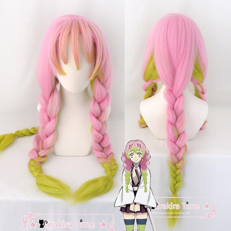 Kanroji Mitsuri Anime Demon Slayer Kimetsu No Yaiba mujeres Cosplay peluca verde rosa colorido pelo trenzas pelo + peluca Cap