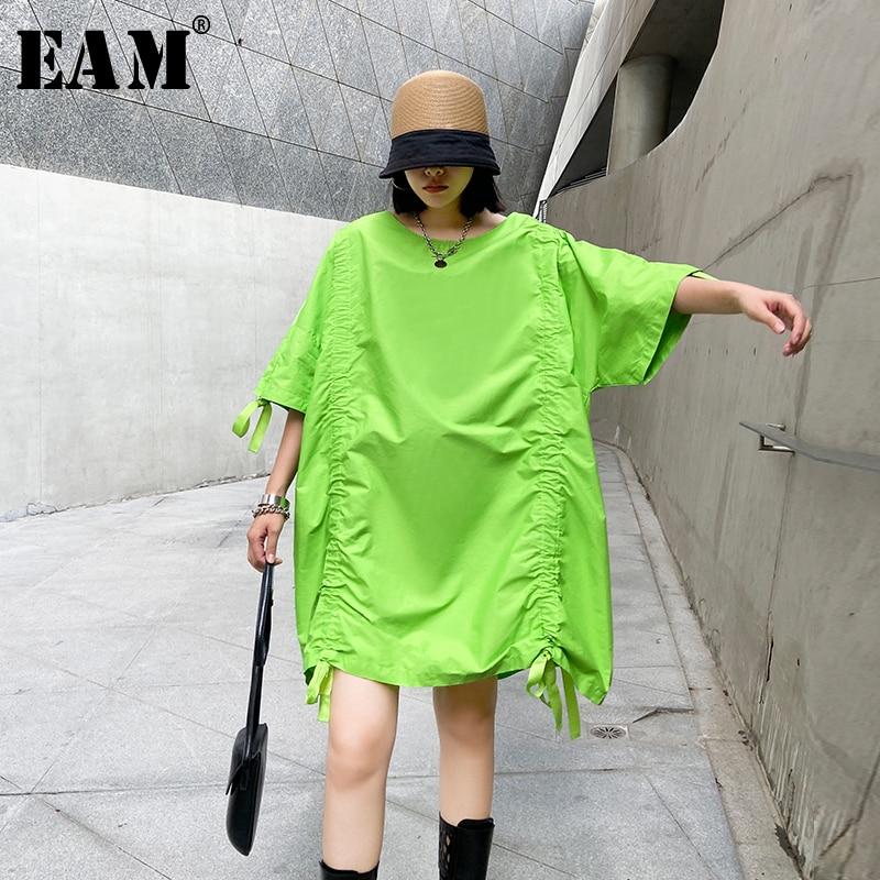[EAM] Women Green Drawstring Big Size Dress New Round Neck Three-quarter Sleeve Loose Fit Fashion Tide Spring Summer 2020 1W564
