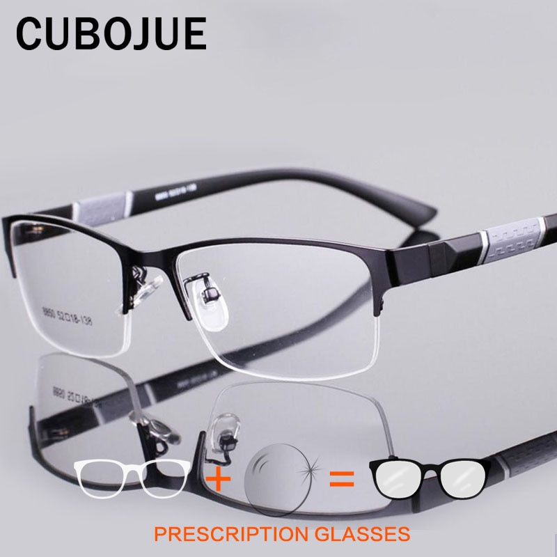 CUBOJUE Prescription Glasses Men Optics 100-150-200-250-300-400-600 Anti Blue Light Photochromic Pro