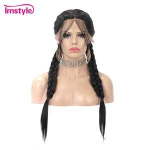 Imstyle #1b Black Braided Wigs For Black Women Synthetic Lace Front Wig Double Braids Lace Wig With Baby Hair Middle Part