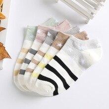 Ani-B12 Winter color stars stripes women low ankle boat socks cotton