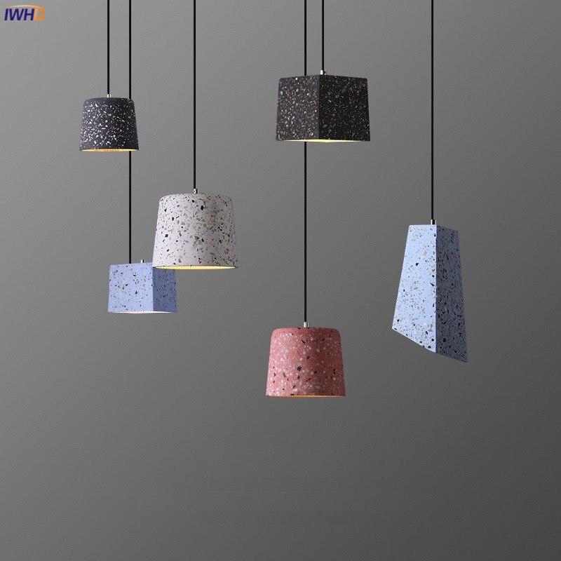 IWHD الشمال الاسمنت الحديثة قلادة مصباح تركيبات إضاءة داخلية المنزل غرفة الطعام مقهى 2021 نمط جديد ليتل قلادة LED أضواء