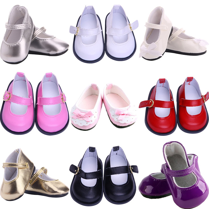 Beautiful Bow Lace Leather Doll Shoes 7 cm For 18 Inch Doll 43 CM Born Baby Doll,Toys For Girls,Our