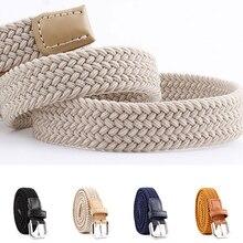 New Unisex Casual Stretch Woven Belt Women Men Elastic Belts For Jeans Knitted Belts Vintage Solid Braided Belt Pin Buckle Belt