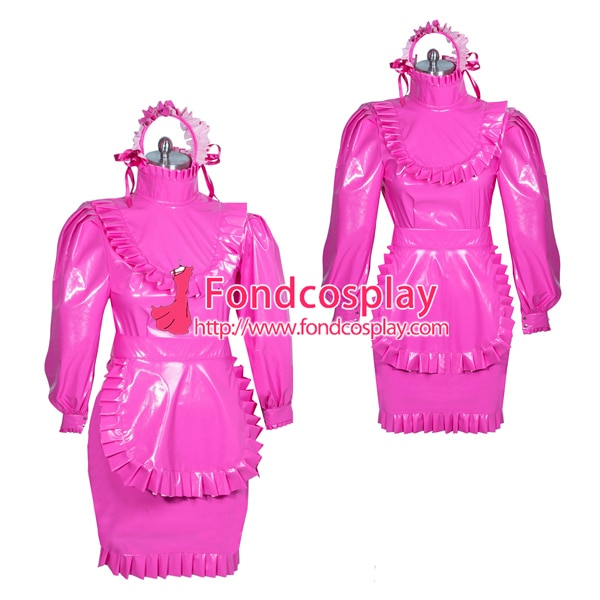 Francês quente rosa pvc sissy maid vestido lockable unisex sob medida [g3877]