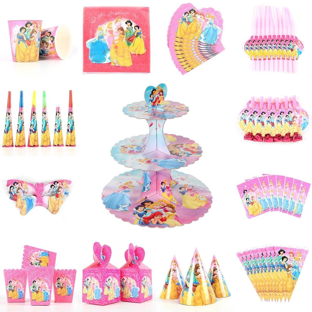 Одноразовая подставка для торта Disney Princess на день рождения, декоративная столовая посуда баннер, украшение для дня рождения
