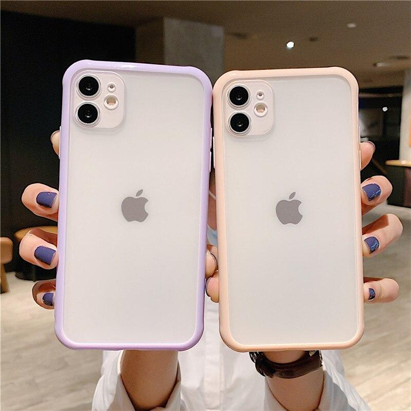 Чехол для телефона Moskado контрастного цвета для iPhone 11 11Pro Max X XR XS Max 7 8 Plus SE простой мягкий чехол из ТПУ