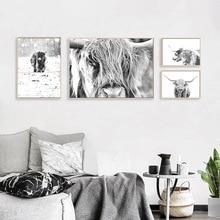 Preto branco pintura em tela highland vaca animais fotografia cartaz nórdico impressão moderna parede arte imagem sala de estar decoração