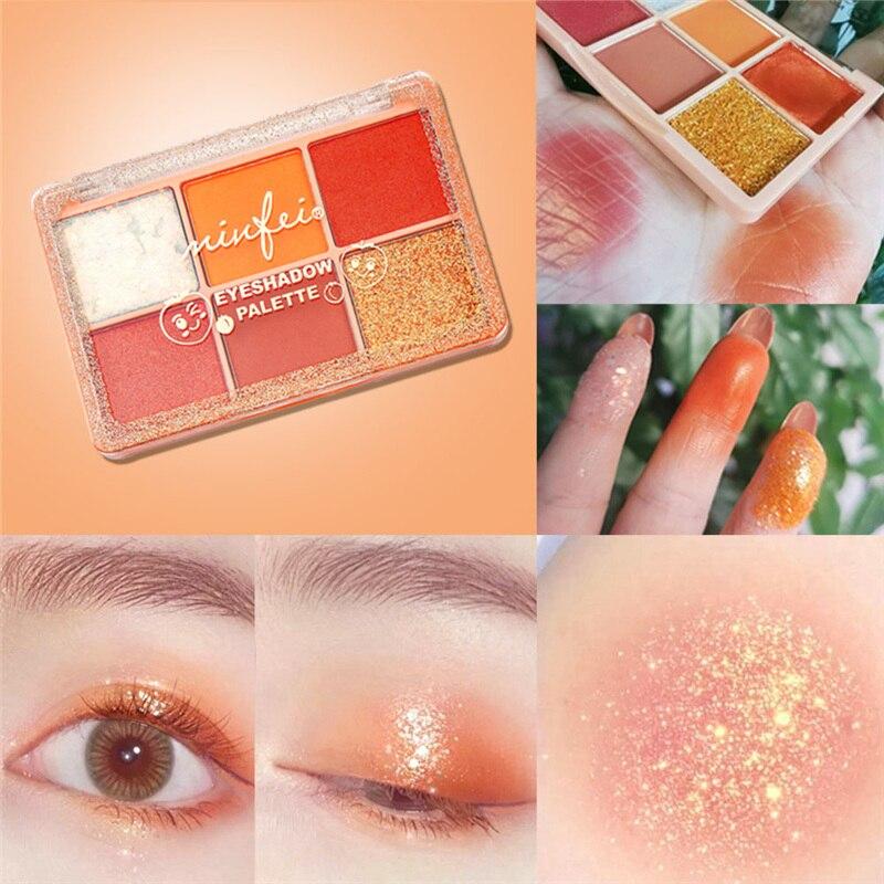 2020 nueva paleta de sombra de ojos de 6 colores purpurina perlada natural a prueba de agua sombra de ojos maquillaje cosmético