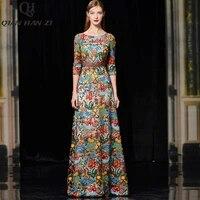 qian han zi designer runway fashion slim party long dress women 34 sleeve luxury high quality mesh embroidered maxi dress