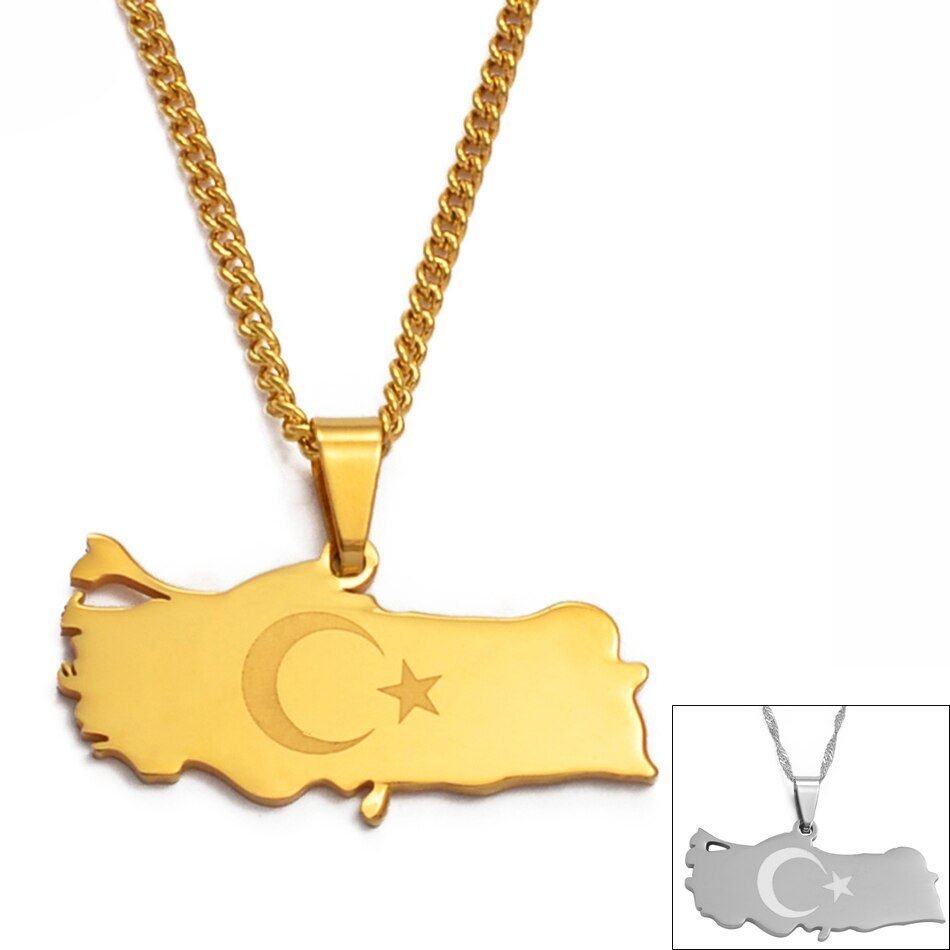 Anniyo, collar con colgante de mapa turco, Color dorado/plateado para mujeres, hombres, joyas turcas, regalos patrióticos #012021