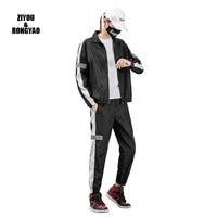 2020 tracksuit men 2pcs long sleeve clothing sets casual reflective jacketpants mens sportswear gym joggers sweatsuits leisure