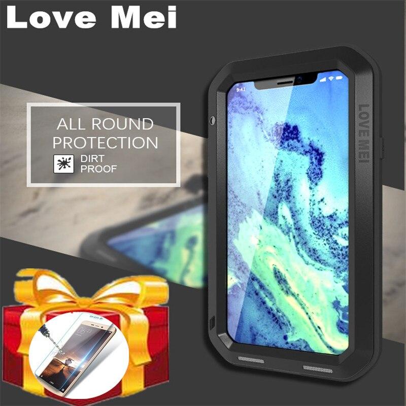 Capa de metal para iphone love mei, capa de metal de alumínio à prova de choque para iphone 11 pro max x xs xr XS-MAX capa de proteção para área externa