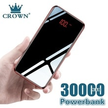 30000 mAh Power Bank Portable Mobile Phone Charger LCD Full Mirror Screen Powerbank for Smartphones