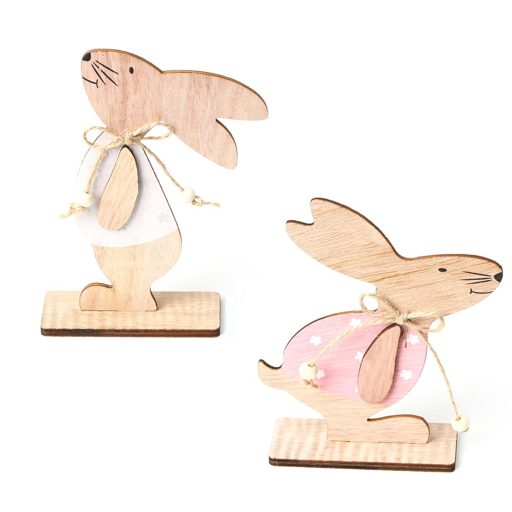 14cm Easter Bunny Ornament Wood Craft Easter Day Cute Rabbit Toys for Kids Easter Holiday Home Decorations 2019 sell like hot professional easter bunny mascot costumes rabbit and bugs bunny adult mascot for sale