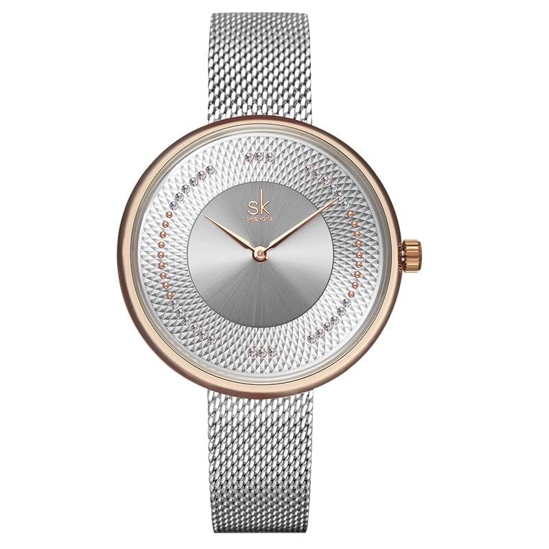 Fashion Rhinestone Women Quartz Watches Luxury SHENGKE Brand Simple Design Watch for Lady Casual Business Clock Waterproof enlarge