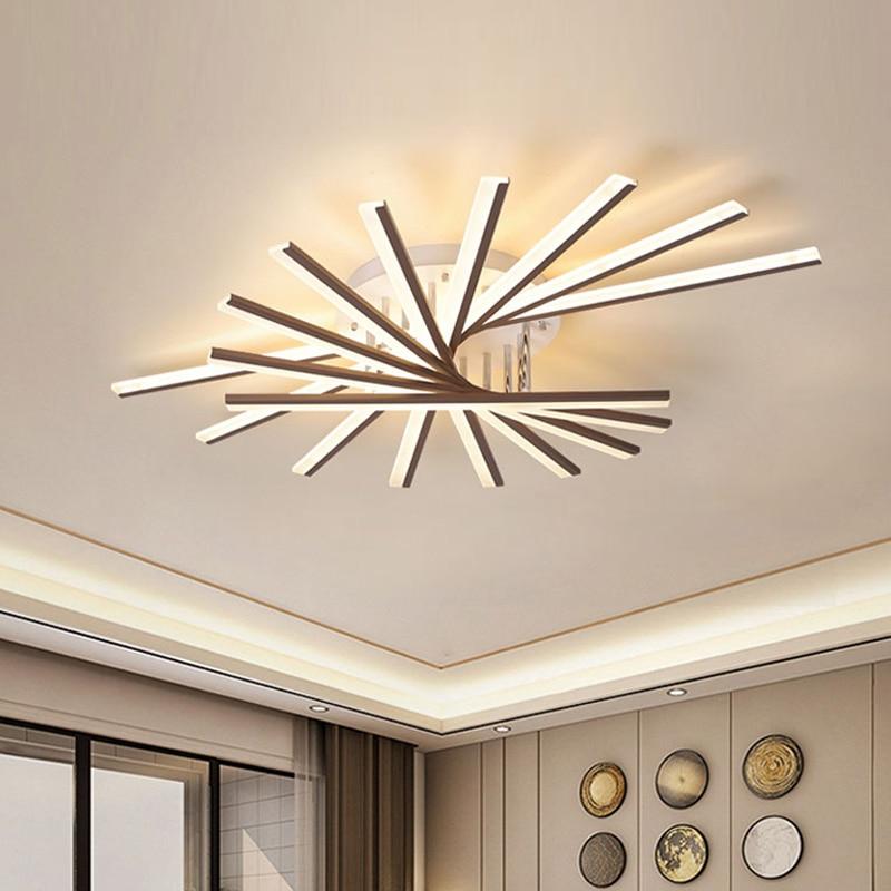 Luces de techo LED modernas para sala de estar, hogar, Art Decó, restaurante, oficina, lámpara negra dorada con brillo remoto para dormitorio