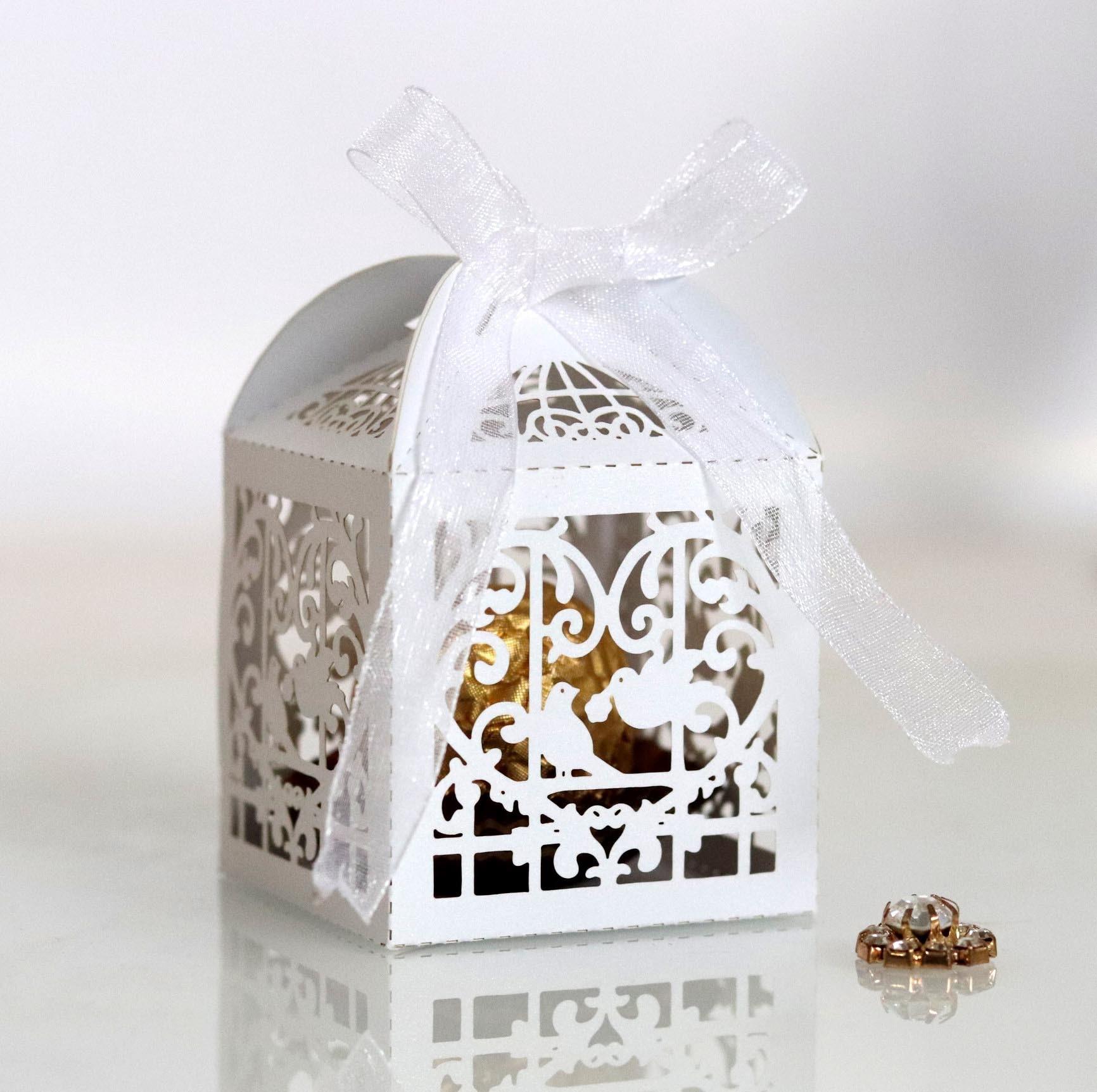 Corte por láser para bodas cajas de Favor de corte hueco amor pájaros jaula en forma de caja de dulces