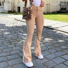 Women's jeans woman high waist Flared Jeans Khaki Black Brown Pants Women's pants for women clothing