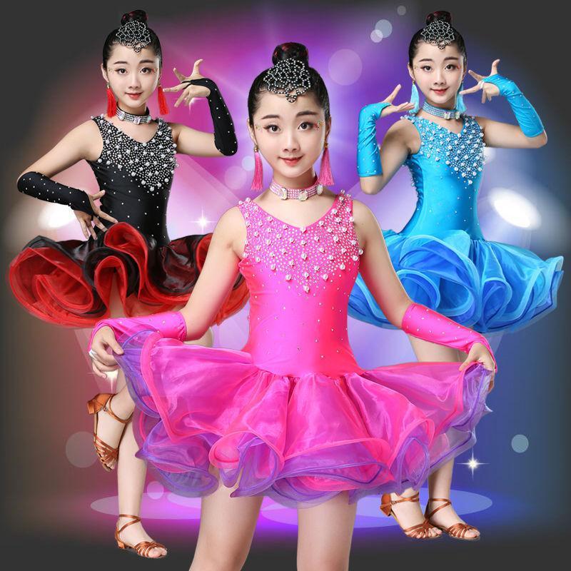 المخملية اللاتينية فستان رقص لفتاة مسابقة الأطفال قاعة سامبا الاطفال طويلة الأكمام السالسا التانغو ممارسة ارتداء الترتر تشا