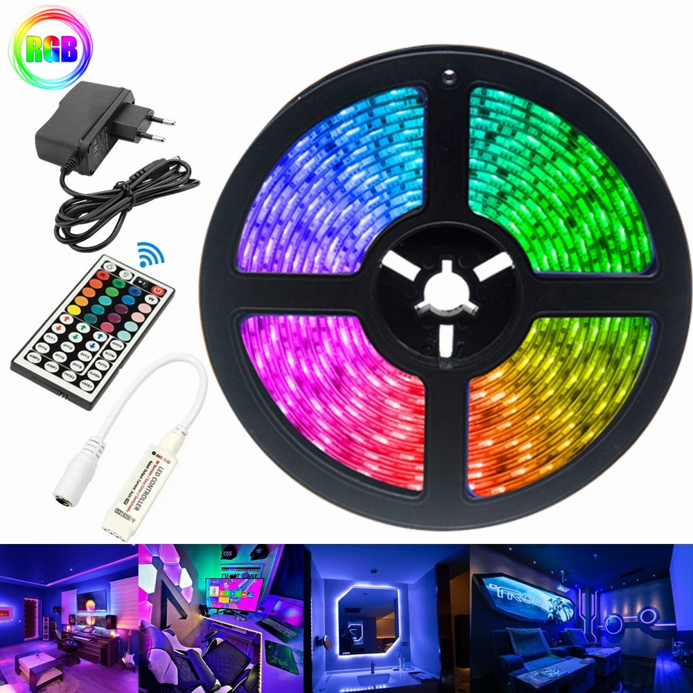 5M LED Light Strip For Bedroom Decoration 2835 RGB Flexible Ribbon Diode Infrared Remote Controller Decor Background Lighting
