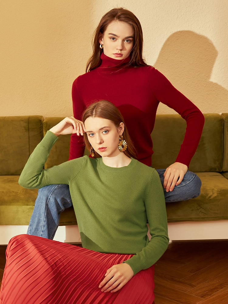 2020 New Style Pure Cashmere Sweater Women Turtleneck Sweater