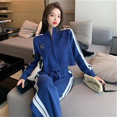 Casual Fashion Suit Women's Spring and Autumn New Weight Loss Knitting Sports Style Wide Leg Pants Youth Two-piece Suit  - buy with discount