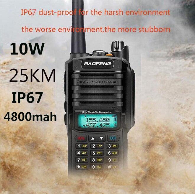2020 actualización uv9r Baofeng UV-9R más 50km walkie talkie 10W 4800mah dos radio vhf uhf radio de largo alcance estación de radio CB