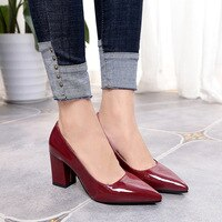 New Women Pumps Black High heels 7.5cm Lady Patent leather Thick with Autumn Pointed Single Shoes Female Sandals 785