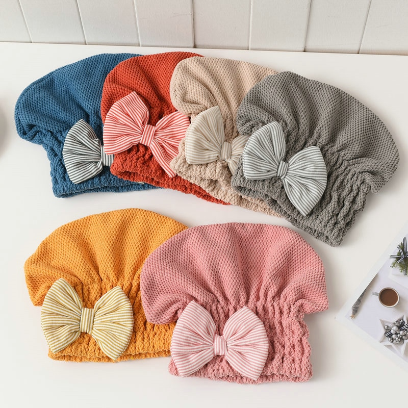 1Pcs For Women Quick-drying Hair Cap Dry Hair Towel Super Absorbent Coral Velvet Bath Accessories Portable Shower Caps enlarge