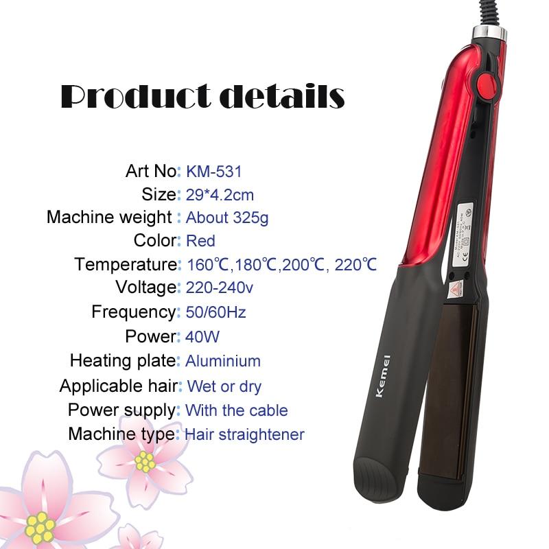 Kemei professional hair straightener straightening iron ceramic coating flat irons curling corn styling tools hair curler women enlarge
