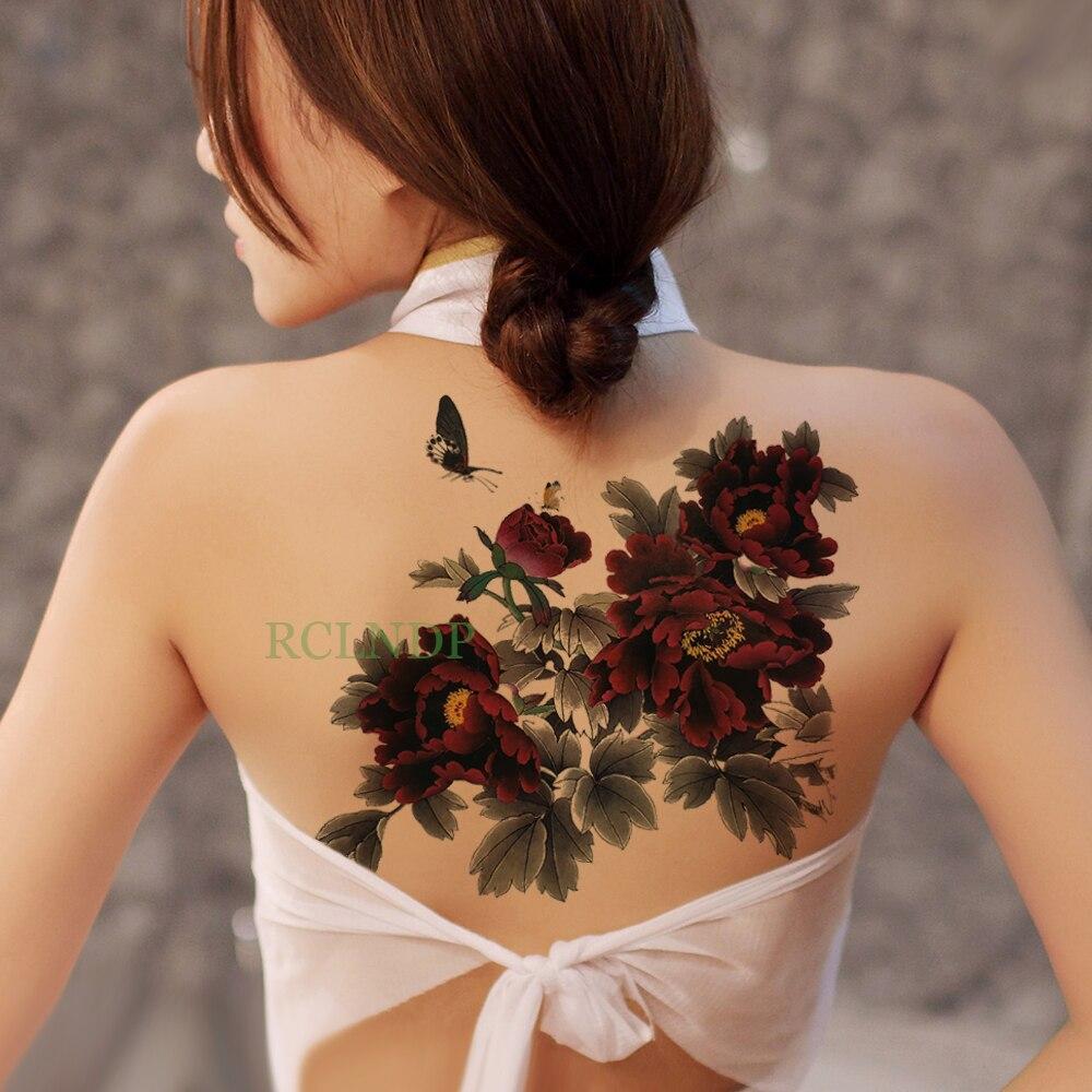 Tatuaje temporal a prueba de agua pegatina peonía Flor Mariposa tatuaje falso Flash tatuaje en cuerpo vientre trasero tamaño grande para Mujeres Hombres y niñas