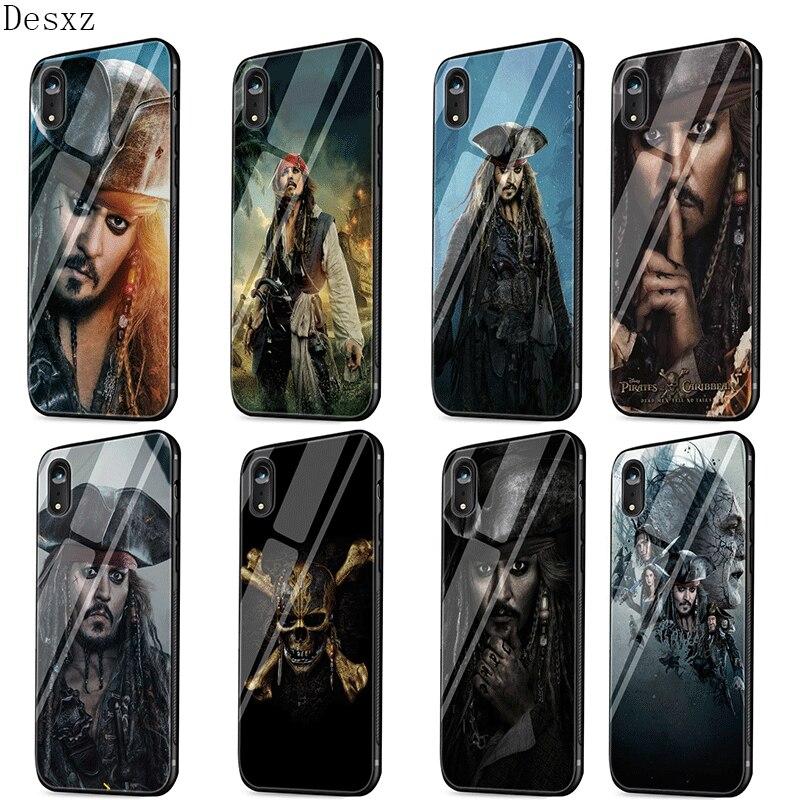 Funda de vidrio para teléfono móvil para iPhone 7 8 6S X XS Max XR 5 5S SE cubierta de piratas carcasa de carcasa del Caribe