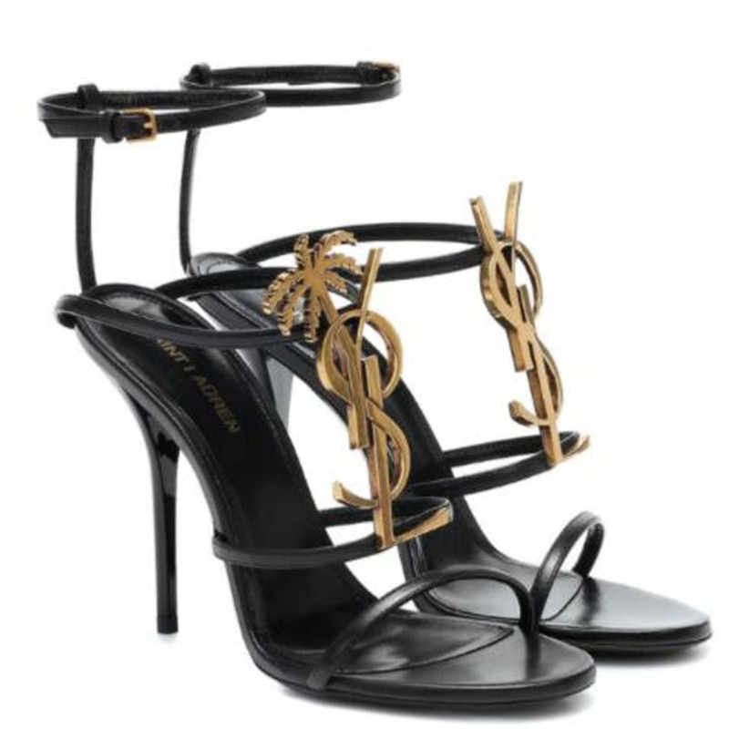 French high fashion house classic high heel sandals leather letters high heel women shoes