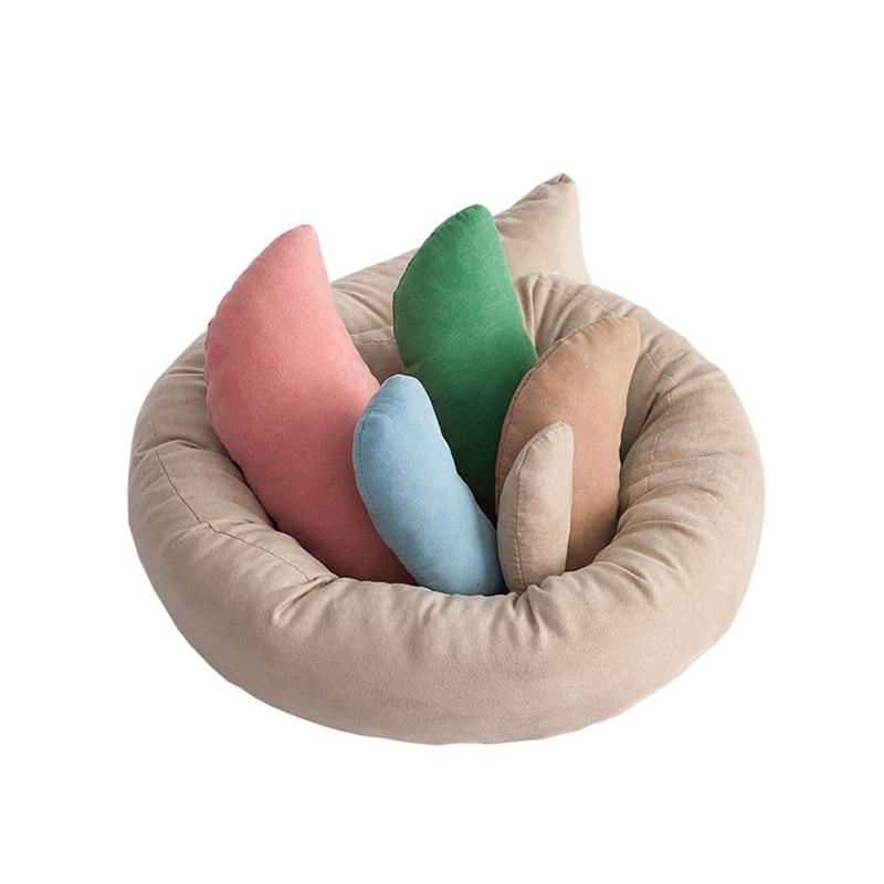 6pcs/set Newborn Posing Beans Bag Baby Photography Prop Pillow Baby Crescent Shaped Pillows Positioner Cushion Basket Filler